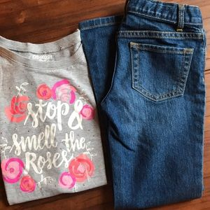 Children's place jeans/ stop & smell the roses tee